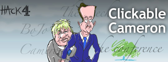 David Cameron animated political cartoon caricature at The Conservative party conference in Birmingham in October 2008. Published at Channel 4 News. Drawn by Matt Buck hack cartoons. Copyright and all image rights Matt Buck Hack Cartoons