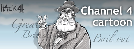 Animated political cartoon caricature of Gordon Brown as Winston Churchill during the global financial crisis. Published by Channel 4 News. Drawn by Matt Buck Hack Cartoons. Copyright and all image rights Matt Buck Hack Cartoons