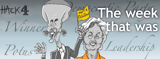 Barack Obama and Hillary Clinton cartoon caricature by Hack Cartoons for Channel 4 News