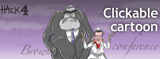 Animated political cartoon caricature of Gordon Brown's speech to the Labour conference at manchester in 2008/ Published at Channel 4 News. Made by matt Buck hack cartoons. Copyright and all image rights Matt Buck Hack cartoons
