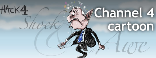 Cartoon caricature of Barack Obama, democratic Senator from Illinois, winning the White House and the US Presidential election against John McCain and the Republicans. Animated cartoon published at Channel 4 News. Copyright and all image rights Matt Buck Hack Cartoons Diary