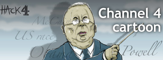Colin Powell attacked John McCain and Sarah Palin animated cartoon caricature by Matt Buck hack cartoons for Channel 4 News in the UK. Copyright and all image rights Matt Buck Hack Cartoons