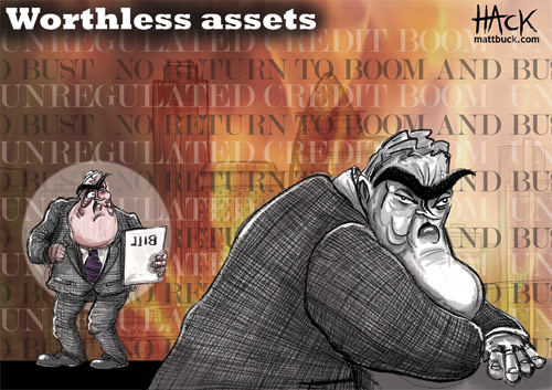 Financial and banking crisis cartoon. HBOS, Lloyds TSB. Drawn by Matt Buck Hack Cartoons for Tribune magazine in the Uk. Copyright an all image rights Matt Buck Hack Cartoons