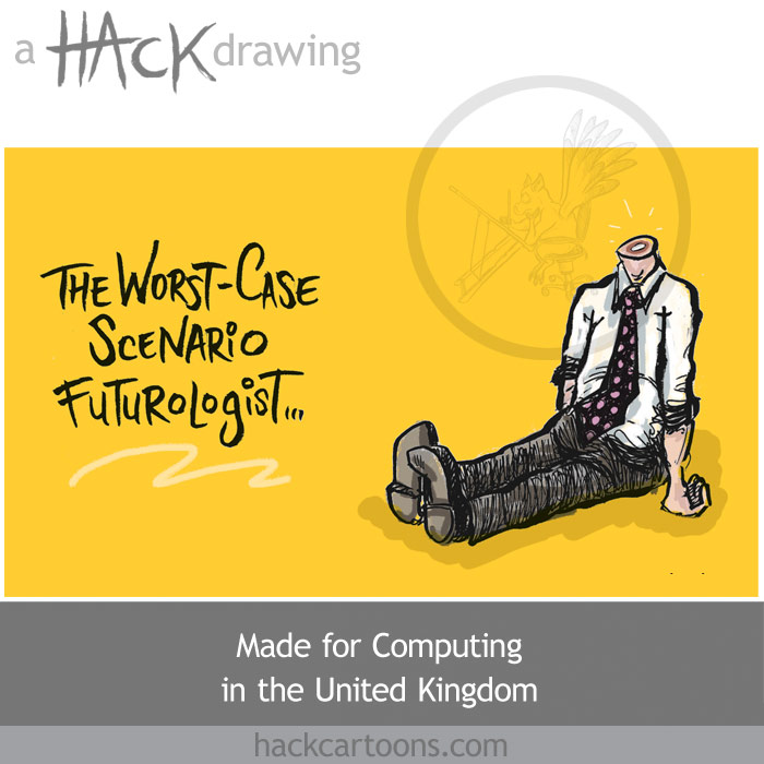 Cartoon about the technology of the future from computing drawn by Matt Buck (Hack)