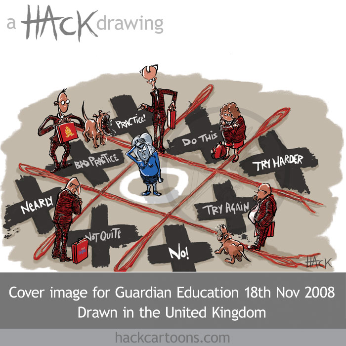 Teachers, teacher, inspector, inspectors, OFSTED, cartoon, caricature, Guardian Education, cover cartoon, supplement, magazine cover iamge. Guardian Education, Matt Buck hack Cartoons. Copyright and all image rights Matt Buck Hack Cartoons