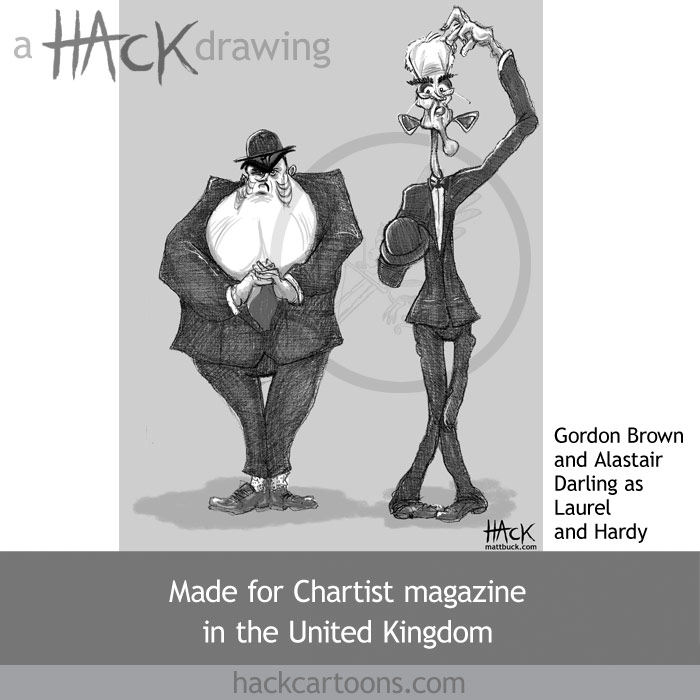 Gordon Brown and Alastair Darling as Laurel and Hardy animated political cartoon caricature by Matt Buck Hack Cartoons. Published for Chartist magazine in July 2008. Copyright and all image rights Matt Buck hack cartoons