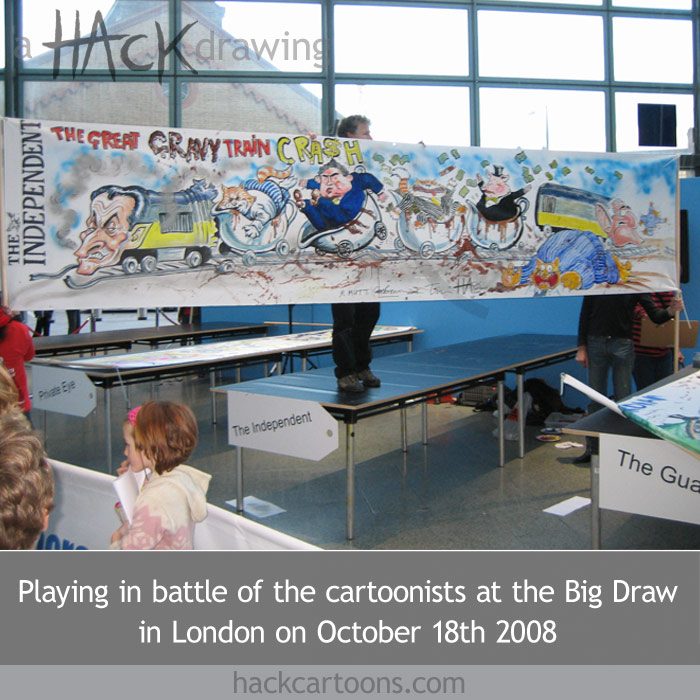 Hack cartoons drawing for The Independent newspaper at the Big Draw ai St Pancras Station in London, October 2008