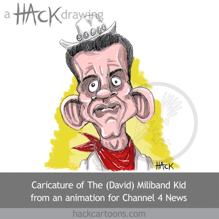 Cartoon caricature of David Miliband MP
