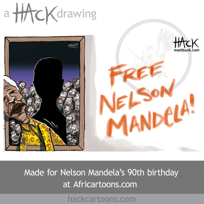 Hack cartoons caricature of Nelson Mandela aged 90