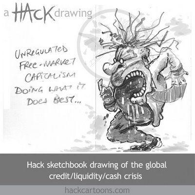 Global financial crisis cartoon. Copyright and all image rights Matt Buck Hack Cartoons