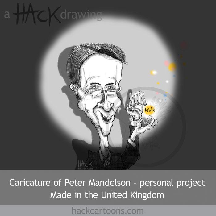 Cartoon caricature of Peter Mandelson MP, Minister for Trade. Drawn by matt Buck Hack cartoons. Copyright and all image rights Matt Buck Hack cartoons