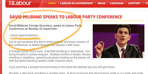 Web clipping from labour.org on David Miliband's speeech to conference @ Hack cartoons Diary